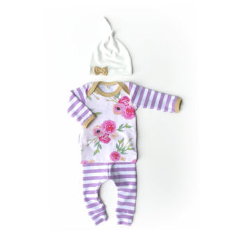 Floral + Stripes Lavender Take Home Outfit // Baby Girl // NB -12 Months