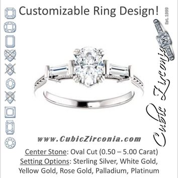 Cubic Zirconia Engagement Ring- The Kimiko (Customizable 3-stone Oval Cut Design with Baguette Accents and Thin Wheat-Filigree Band)