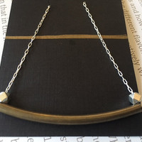 Minimalist Necklace, Brass Tube and Silver Beads on Sterling-silver Plated Chain