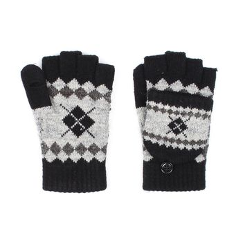 Knit Fingerless Striped Gloves