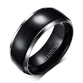 8mm Black Titanium Stainless Steel Ring Vintage Wedding Jewelry Engagement Band Silver Edges