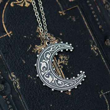 Crescent Moon Necklace Silver by ragtrader on Etsy