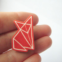 Red Fox origami brooch badge shrinky plastic