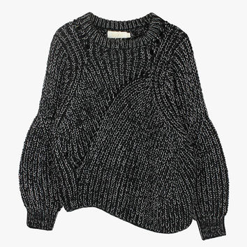 Salt and Pepper Wave Crop Sweater
