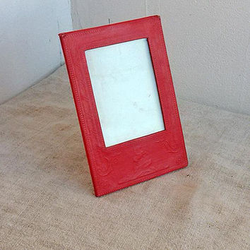 Antique frame Red photo frame Soviet vintage embossed paper Retro stunning design Old decoration Cottage shabby chic Table decor Gift idea