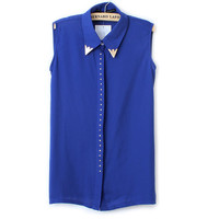 Blue Sleeveless Chiffon Blouse with Rivet Metal Design