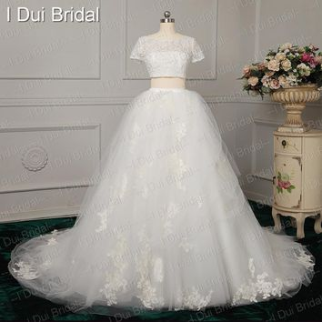 Factory Real Photo Two Piece Ball Gown Wedding Dresses Crystal Beaded Short Crop Top Jacket Lace Appliqued Romantic Style