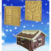 Large Christmas House Gingerbread House Fondant Cake Chocolate Silicone Mold Cake Decoration Tools,L22cm*W16cm*H1cm