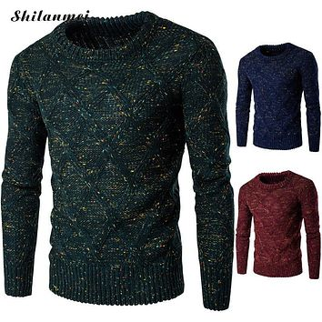 2016 New Autumn Winter Fashion Casual Sweater O-Neck Geometric Slim Fit Knitting Mens Sweaters And Pullovers Thermal Knitwear