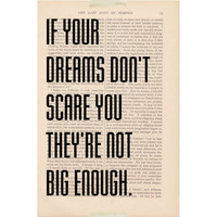 motivational print dictionary art - If Your Dreams Don't Scare You They're Not Big Enough book page - inspirational quote dictionary art