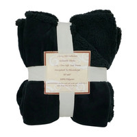 "Reversible Sherpa/ Microplush Throw Blanket- 50""x 60""- Black/Black"