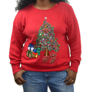Vintage Ugly/Tacky Christmas Sweater/Plus Size 18 20/ Red Decorative Christmas Tree with Bells/ Venezia/ Sweater Party