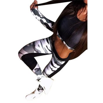 Fitness Wear Tank tops Women Tracksuit Camouflage Crop Tops Long Sleeve