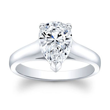 Ladies 18k white gold engagement ring solitaire with 2 ct natural Pear Brilliant White Sapphire center