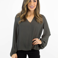 Dark Olive V-Neck Blouse
