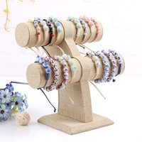 2 Layers bracelet display shelf linen bangles organizer hair clasp holder stand for jewelry rack watch frame displays shelves