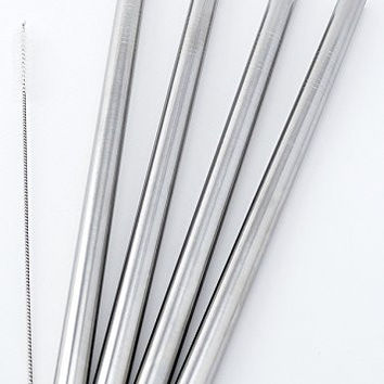 """4 BOBA Straw Stainless Steel Extra Wide 1/2"""" x 9.5"""" Long Tapioca Pearl Bubble Tea Thick FAT"""