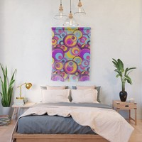 Retro Circles Groovy Colors Wall Hanging by gx9designs