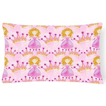 Watercolor Princess and Crown Canvas Fabric Decorative Pillow BB7551PW1216