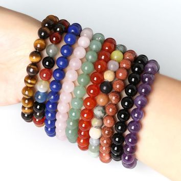 8MM Natural Stone  Lapis Carnelian  Malachite Tiger Eye Round Beads Stretch Bracelet 19cm 1Pcs