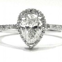 Pear shape cut diamond engagement ring 100ct by KNRINC on Etsy