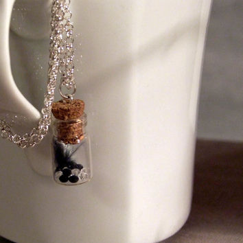 Cute feather necklace Vial necklace with Feather mini Glass bottle necklace. crystals Bottle Pendant. Dream bottle miniature bottle necklace