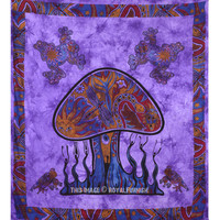 Purple Psychedelic Mushroom Frog Print Boho Style Tapestry Wall Hanging Bedding on RoyalFurnish.com
