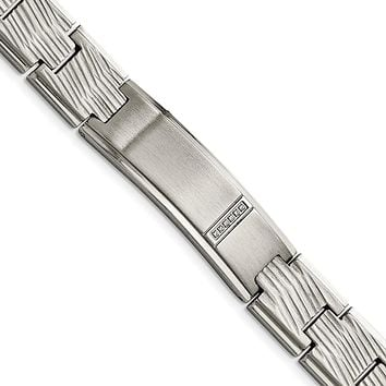 Stainless Steel Polished and Matte CZ Bracelet 9in