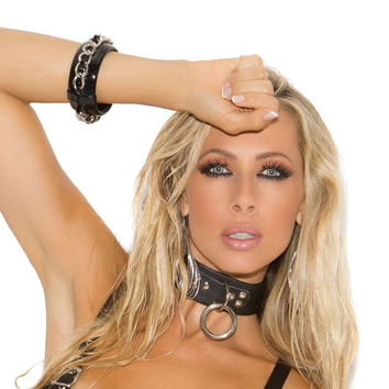 Leather choker with O ring and D ring *Available Boxed Black