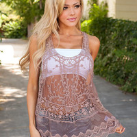Spirited Sheer Lace Tank Mocha