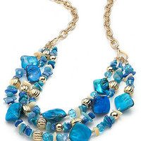 Style&co. Necklace, Gold-Tone Blue Shell Three-Row Necklace - All Fashion Jewelry - Jewelry & Watches - Macy's