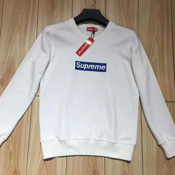 Supreme Men WomenFashion Splicing Print Long Sleeve Hoodie Pullover Sweater G-ZDL-STPFYF