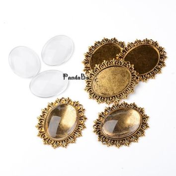 Alloy Cabochon & Rhinestone Settings and 40x30mm Oval Clear Magnifying Glass Covers Sets Lead Free & Nickel Free, Antique Golden