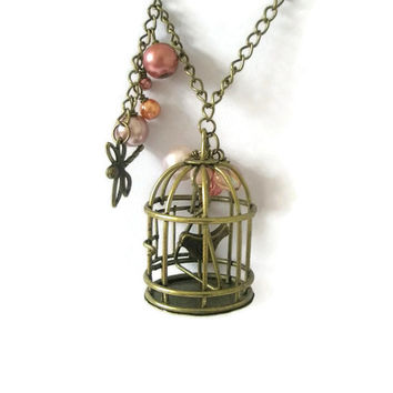 Necklace Victorian style  Birdcage opening door Antique Gold bird in cage long necklace pink beads vintage