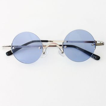 Vintage Inspired Round Sunglasses - Blue