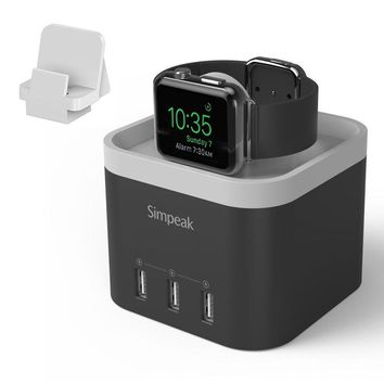 Simpeak 4 Port USB Charger Stand for Apple Watch 1/2/3 [Nightstand Mode], with Phone Holder Charger Stand for iWatch, iPhone 5/6/7/8/X and other Smartphone,iPad - Black