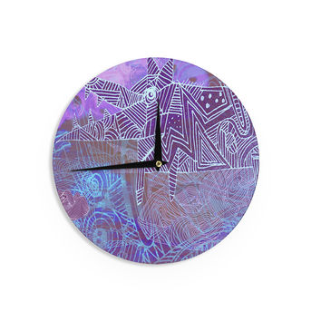 "Marianna Tankelevich ""Abstract With Wolf"" Purple Illustration Wall Clock"