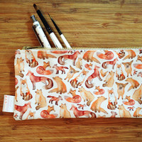 Fox Pencil Case, Pencil Case, Fox, Pencil Pouch, Make Up Bag, Pouch, Cosmetic Bag, Zipper Pouch, Bag, pencil bag, organiser, small bag,