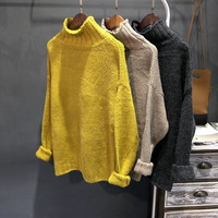 Loose Solid Color Sleeved Turtleneck Sweater