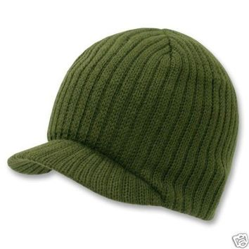 OLIVE GREEN SOLID CAMPUS VISOR BEANIE JEEP CAP CAPS HAT