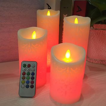 4 pcs/set LED Candles with RGB Remote Control