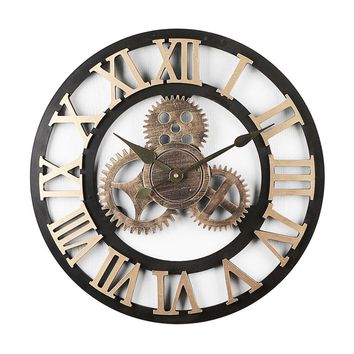 Vintage Wall Clock, Unique Gear Silent Digital Clocks For Home Decoration.