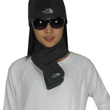 ONETOW 2 PCS SET The North Face Womens Thermal Fleece Winter Scarf & Beanie Hat one size Grey