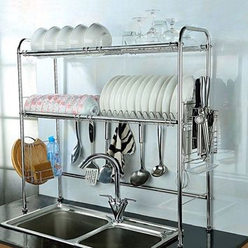Dish Rack, 2-Tier Double Slot Stainless Steel Dry Shelf, Kitchen Cutlery Holder