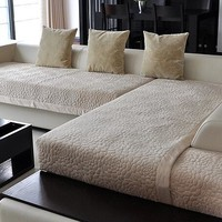 Decorative sofa cover sectional modern slipcover tan beige suede fabric towel cover for the sofa simple sofa sets