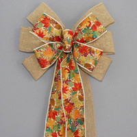 Bright Fall Maple Leaves Burlap Fall Bow
