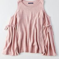AEO Bell-Sleeve Cold Shoulder Sweater, Mauve