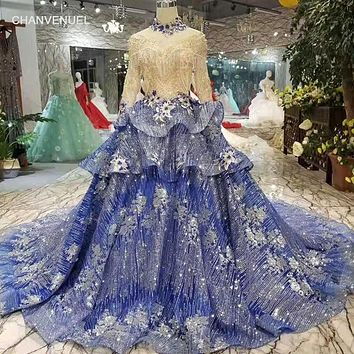 Navy Blue party High Neck Long Tulle Sleeves A-line Muslim Mother of the Bride Dress