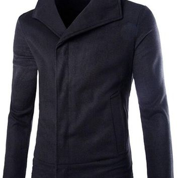 jeansian Men's Fashion British Style Solid Jacket Coat Outwear Tops 9342