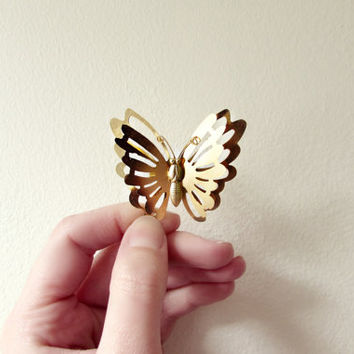 Gold Butterfly Brooch. Whimsical Woodland Vintage Pin. Autumn Fall Bridal Brooch Bouquet. Golden Insect Accessories.